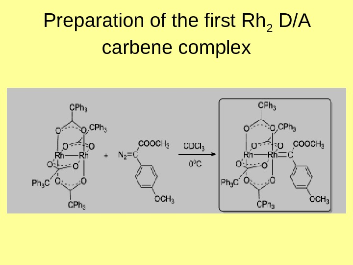 Preparation of the first Rh 2 D/A carbene complex