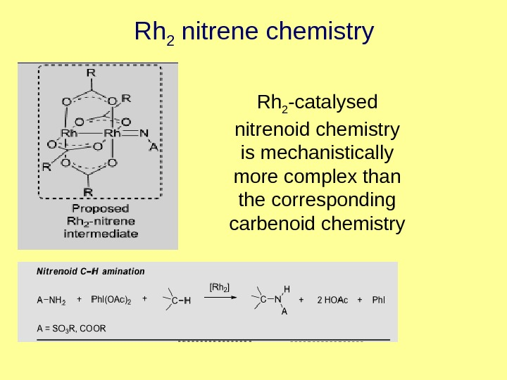 Rh 2 nitrene chemistry Rh 2 -catalysed nitrenoid chemistry is mechanistically more complex than the corresponding