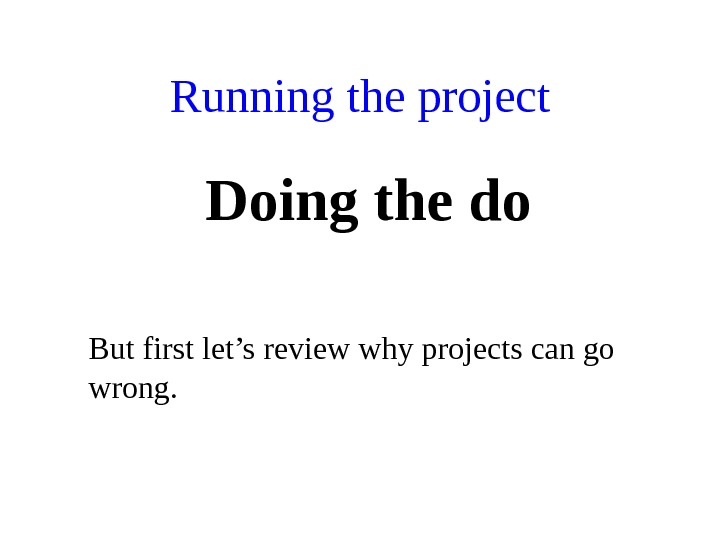 Running the project Doing the do But first let's review why projects can go wrong.