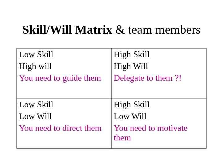 Skill/Will Matrix & team members Low Skill High will You need to guide them High Skill