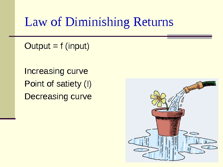 Law of Diminishing Returns Output = f (input) Increasing curve Point of satiety (!) Decreasing curve