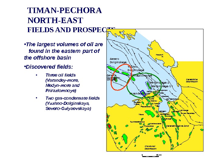 TIMAN-PECHORA NORTH-EAST FIELDS AND PROSPECTS • The largest volumes of oil are found in the eastern