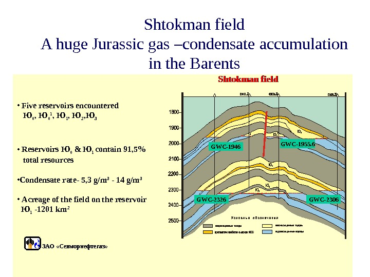 Shtokman field A huge Jurassic gas –condensate accumulation in the Barents Shtokman field •  Five