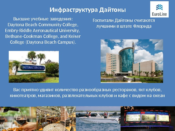 Инфраструктура Дайтоны Высшие учебные заведения: Daytona Beach Community College, Embry-Riddle Aeronautical University,  Bethune-Cookman College,