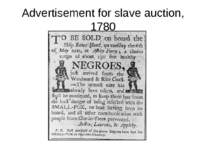 Advertisement for slave auction,  1780