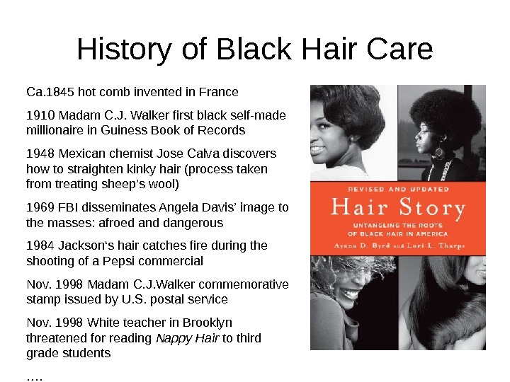 History of Black Hair Care  Ca. 1845 hot comb invented in France 1910 Madam C.