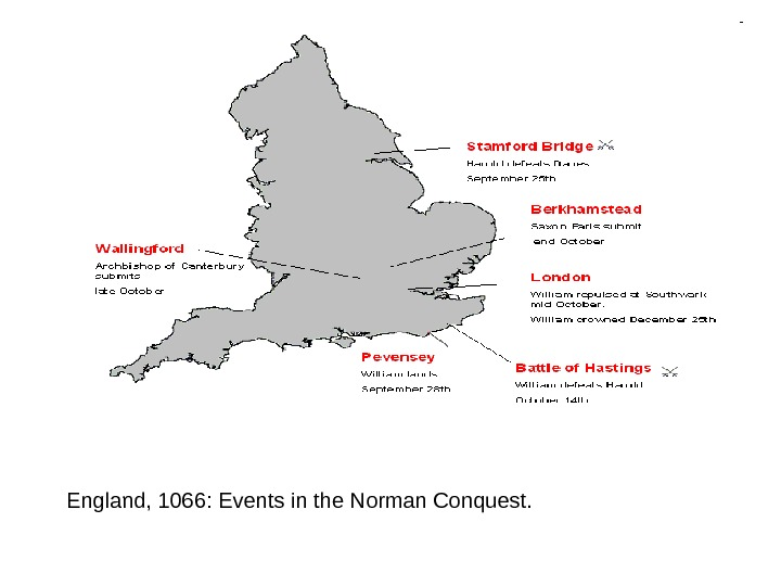England, 1066: Events in the Norman Conquest.