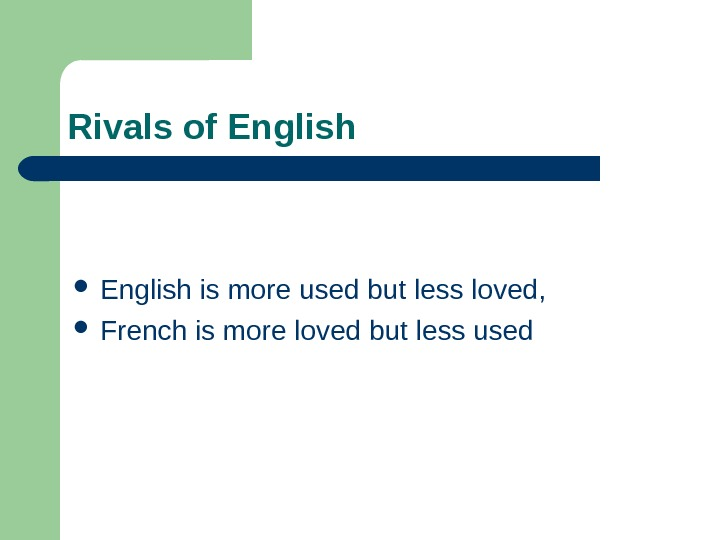 Rivals of English is more used but less loved,  French is more loved but less