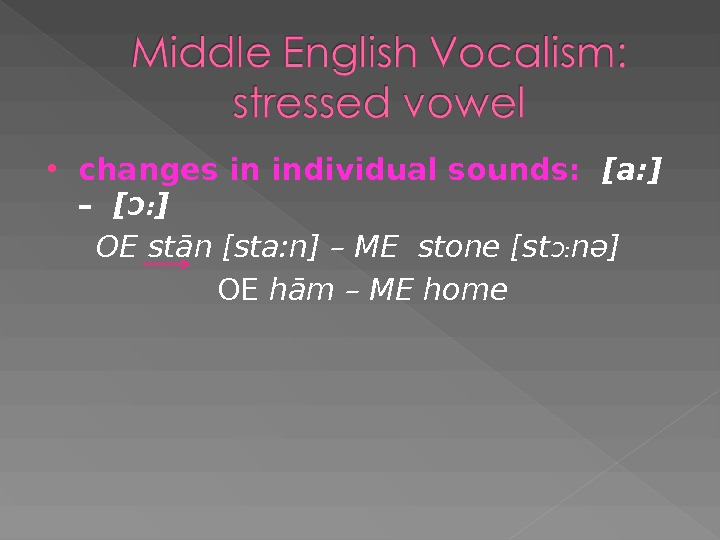 changes in individual sounds:  [a: ]  – [ Ɔ : ] OE stān
