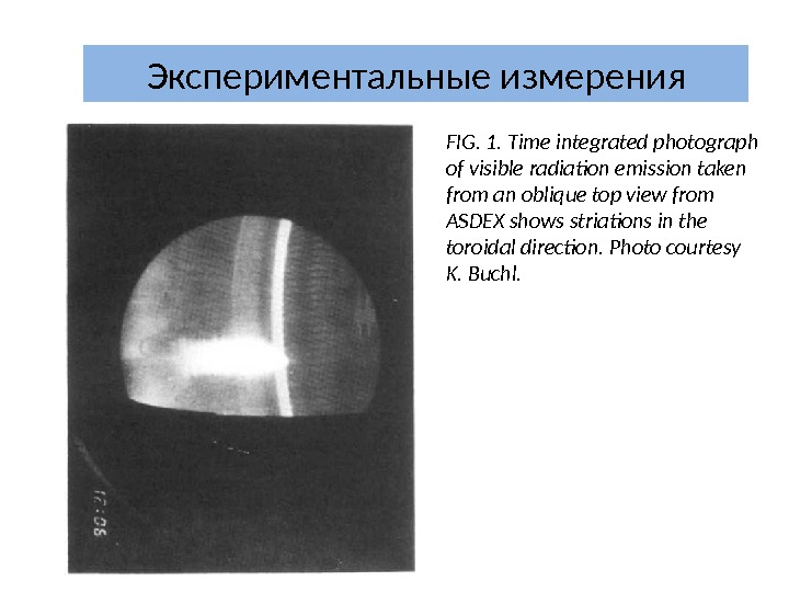 Экспериментальные измерения FIG. 1. Time integrated photograph of visible radiation emission taken from an oblique top