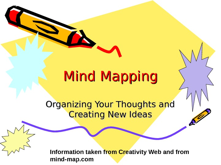 Mind Mapping Organizing Your Thoughts and Creating New Ideas Information taken from Creativity Web and from