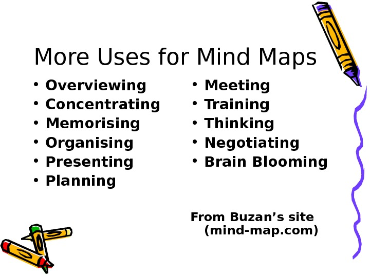 More Uses for Mind Maps • Overviewing • Concentrating • Memorising • Organising • Presenting