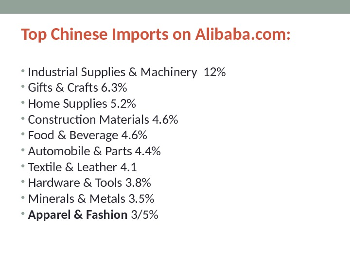 Top Chinese Imports on Alibaba. com:  • Industrial Supplies & Machinery 12 • Gifts &