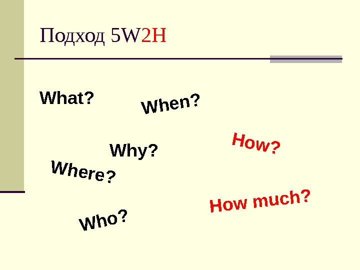 Подход 5 W 2 H What?     Why ? When?  Where?
