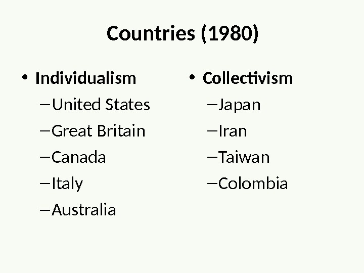Countries (1980) • Individualism – United States – Great Britain – Canada – Italy – Australia