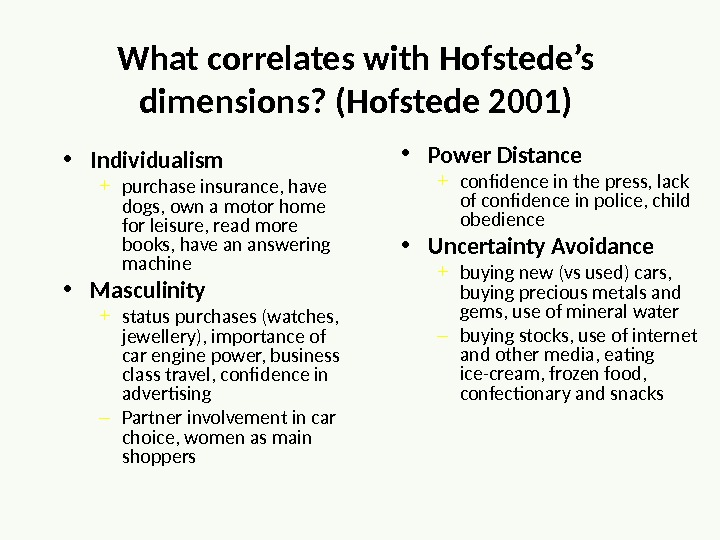 What correlates with Hofstede's dimensions? (Hofstede 2001) • Individualism + purchase insurance, have dogs, own a