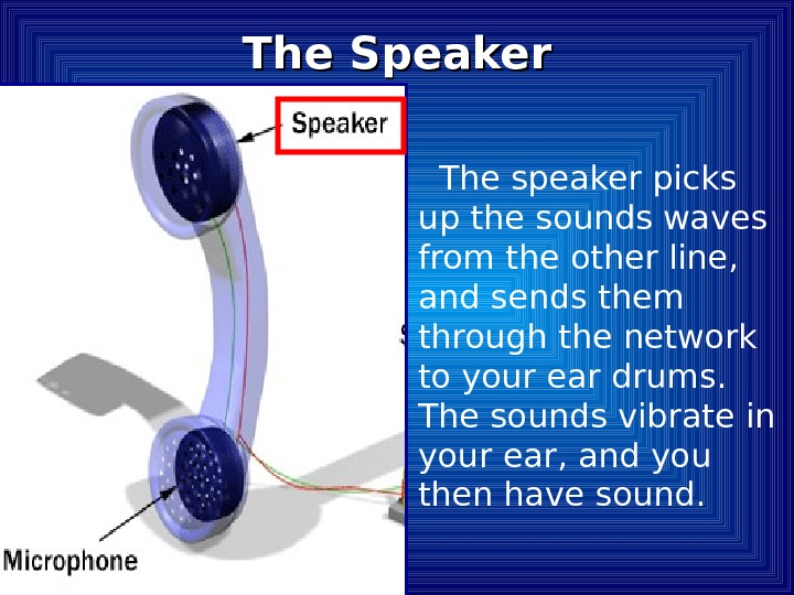 The speaker picks up the sounds waves from the other line,  and sends