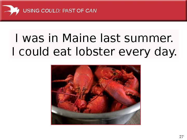 27 I was in Maine last summer. I could eat lobster every day. USING COULD:
