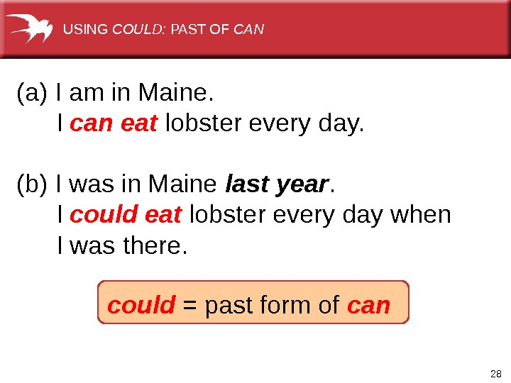 28  (a) I am in Maine.  I can eat lobster every day. (b) I