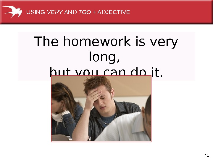 41 The homework is very long,  but you can do it. USING VERY AND TOO