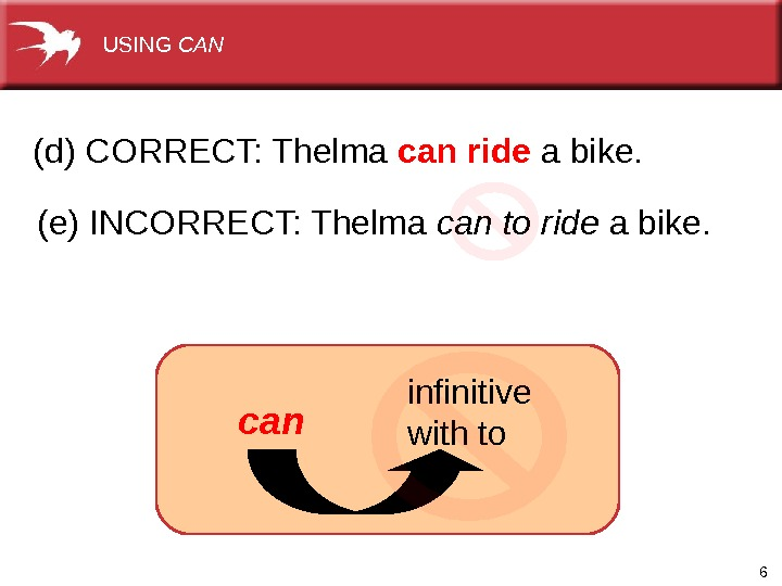 6(d) CORRECT: Thelma can ride a bike. (e) INCORRECT: Thelma can  to ride a bike.