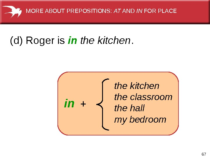 67   the kitchen the classroom the hall my bedroomin +(d) Roger is in