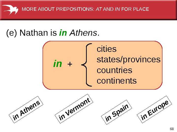 68  (e) Nathan is in  Athens.   in + cities states/provinces countries continentsin