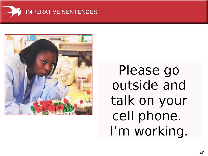 40 Please go outside and talk on your cell phone.  I'm working. IMPERATIVE SENTENCES