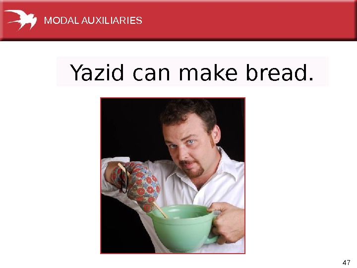 47 Yazid can make bread. MODAL AUXILIARIES
