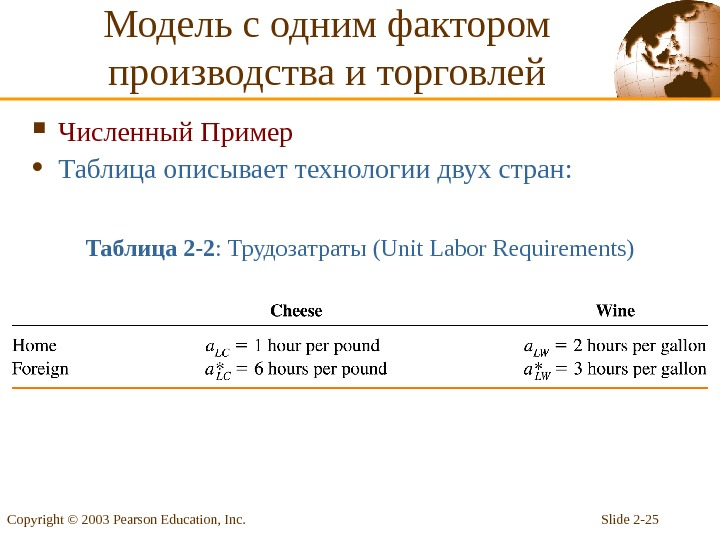 Slide 2 - 25 Copyright © 2003 Pearson Education, Inc.  Численный Пример • Таблица описывает