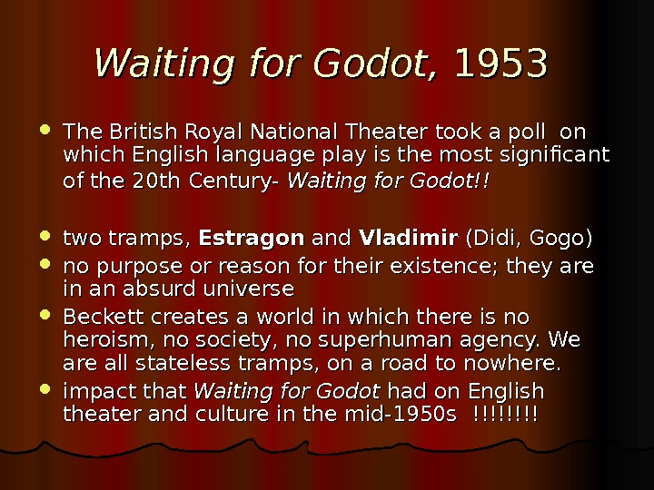 Waiting for Godot, 1953 The British Royal National Theater took a poll on which English language