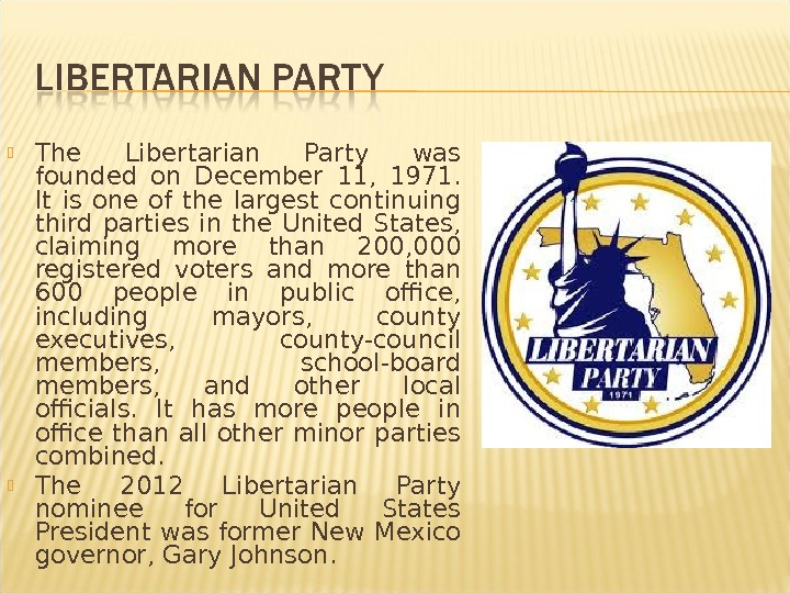 The Libertarian Party was founded on December 11,  1971.  It is one of