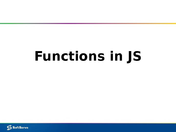 Functions in JS