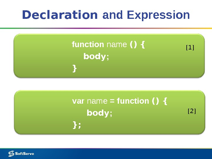 Declaration and Expression function name () { body ; }  [1] var name = function