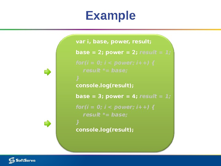 Example var i, base, power, result; base = 2; power = 2;  result = 1;