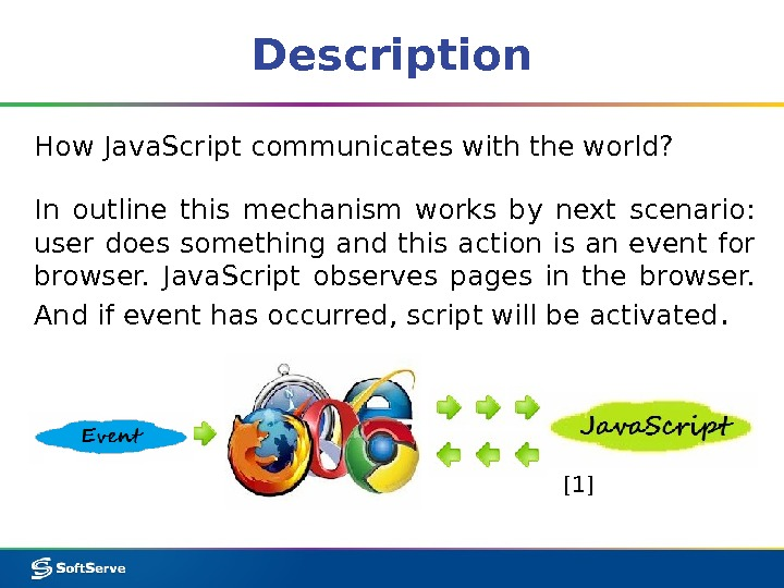 Description How Java. Script communicates with the world? In outline this mechanism works by next scenario: