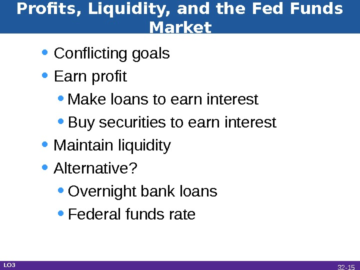 Profits, Liquidity, and the Fed Funds Market • Conflicting goals • Earn profit • Make loans