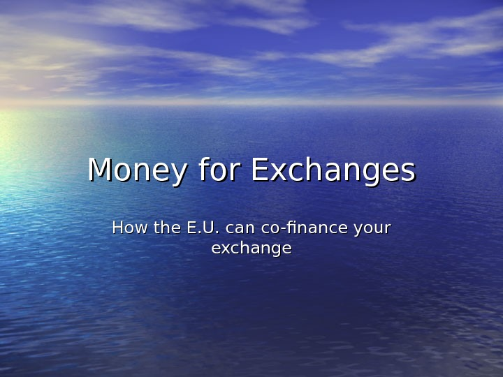 Money for Exchanges How the E. U. can co-finance your exchange