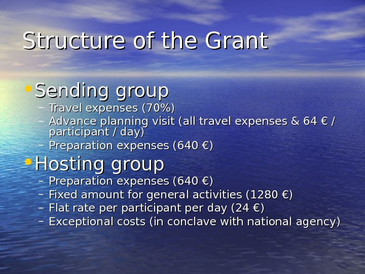 Structure of the Grant  • Sending group – Travel expenses (70) – Advance