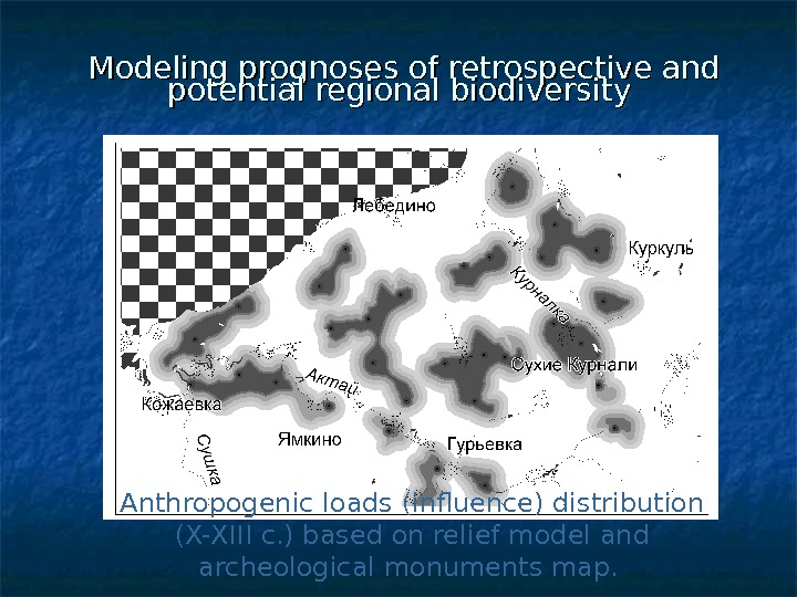 Modeling prognoses of retrospective and potential regional biodiversity Anthropogenic loads (influence) distribution ( X-XIII c.