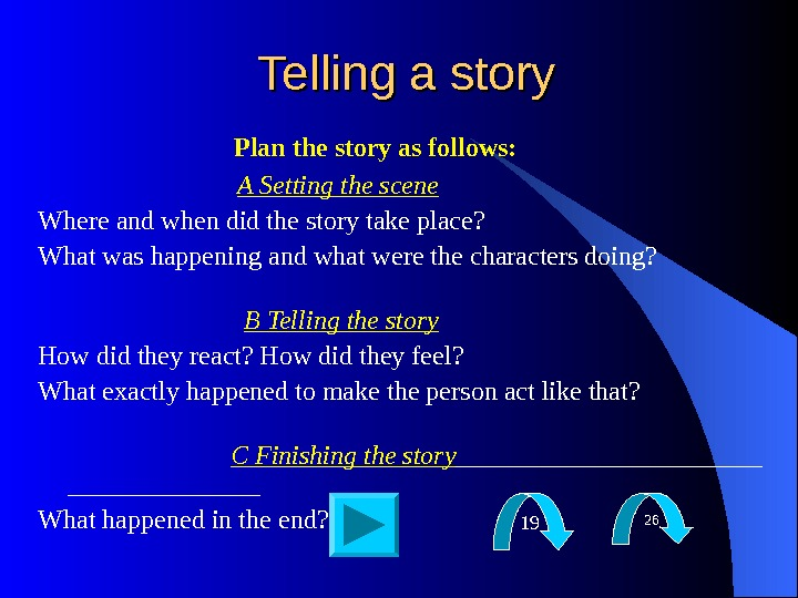 Telling a story    Plan the story as