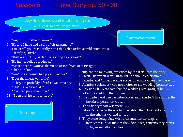 Lesson 5  Love Story pp. 50 - 60 Say who in the story said