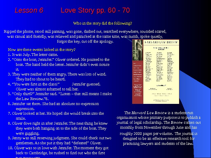 Lesson 6   Love Story pp. 60 - 70 Who in the story did