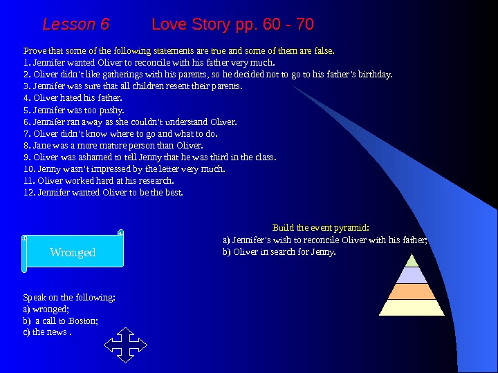 Lesson 6   Love Story pp. 60 - 70 Prove that some of the