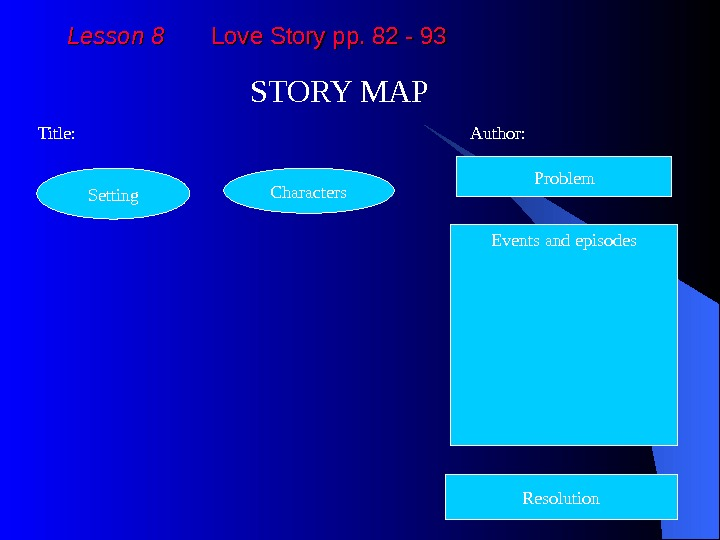 Lesson 8  Love Story pp. 82 - 93 STORY MAP  Title: Author: