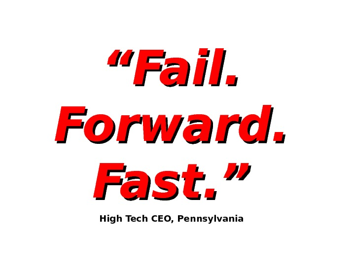 """"" Fail.  Forward.  Fast. "" High Tech CEO, Pennsylvania"