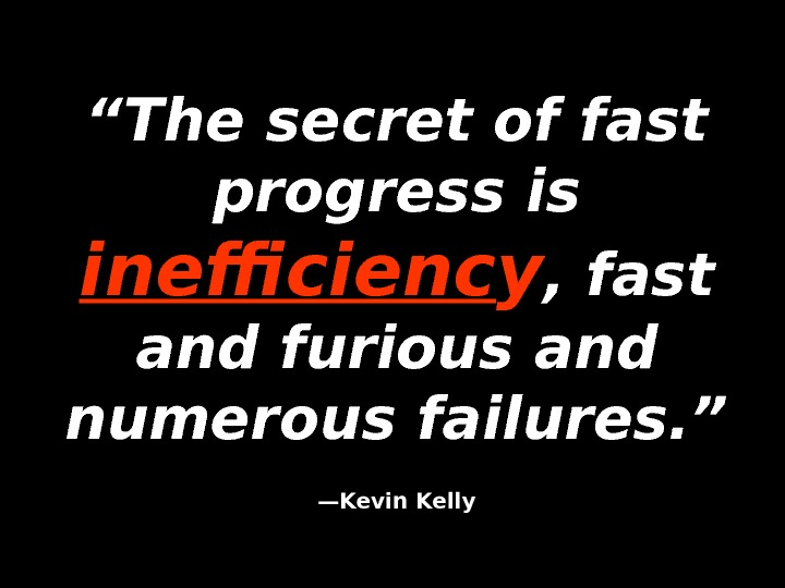 """"" The secret of fast progress is inefficienc y , fast and furious and numerous failures."