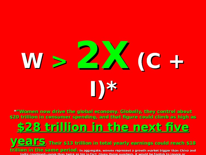 "W W   2 X 2 X (C + I)*I)* ** ""Women now drive the"