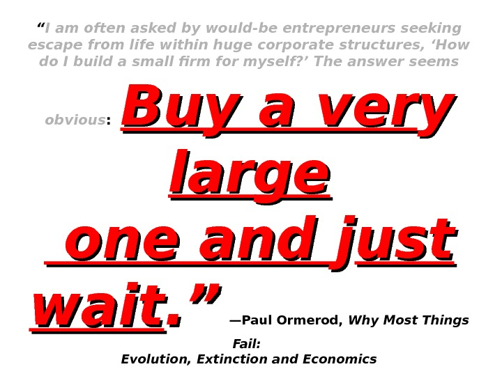 """ I am often asked by would-be entrepreneurs seeking escape from life within huge corporate structures,"