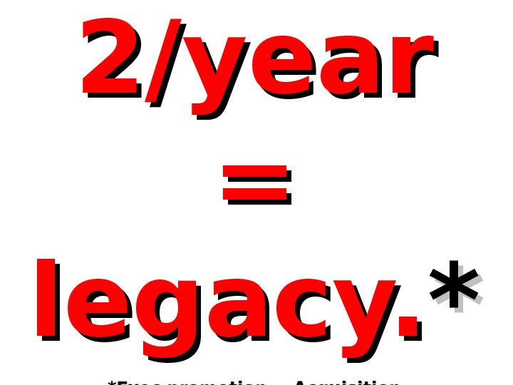 2/year = = legacy. ** *Exec promotion = Acquisition